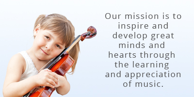 Our mission is to inspire and develop great minds and hearts through the learning and appreciation of music. Has image of young girl hugging a violin